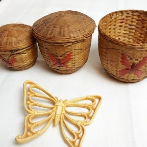 Vintage small butterfly baskets with lids